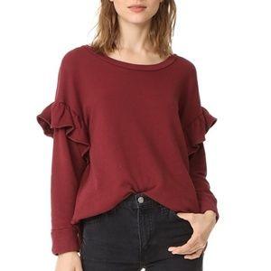 Current Elliott Ruffle Sleeve Oversized knit Top